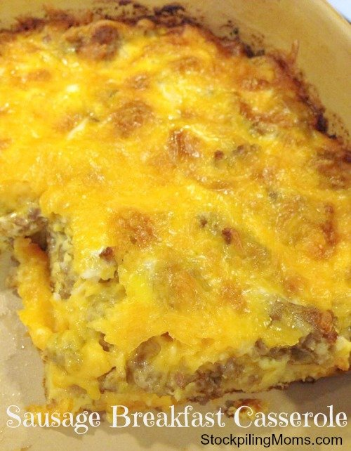 Sausage Breakfast Casserole is so easy to make for holidays!