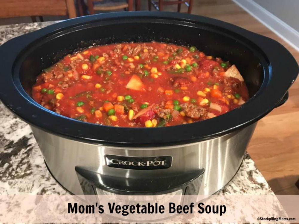 Mom's Vegetable soup is perfect when you are feeling like you need to warm up on a cold day.