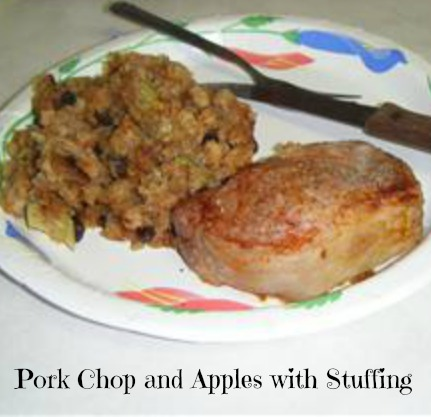 Pork Chop and Apples with Stuffing