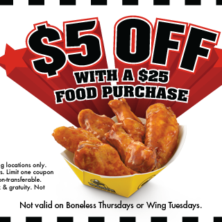 Save $5 off a $25 purchase at Buffalo Wild Wings