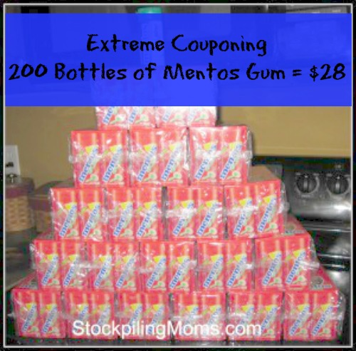 Extreme Couponing – 200 Bottles of Mentos Gum = $28