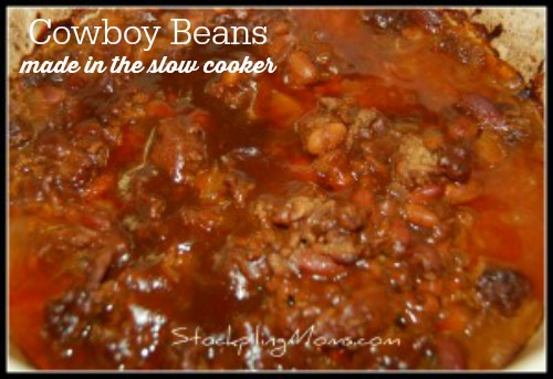 Cowboy Beans are a hearty dish made in the slow cooker.