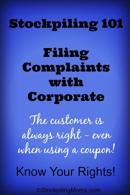 Stockpiling 101  Filing Complaints with Corporate
