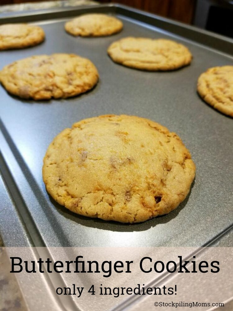 Butterfinger Cookies are made with only 4 ingredients and a great way to use leftover Halloween candy!