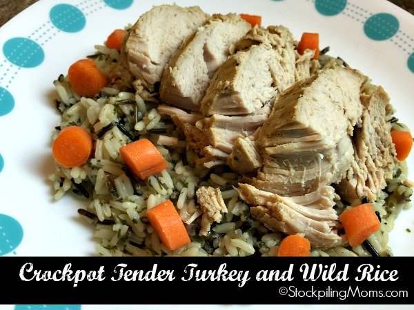 Crockpot Tender Turkey and Wild Rice is an easy freezer meal!