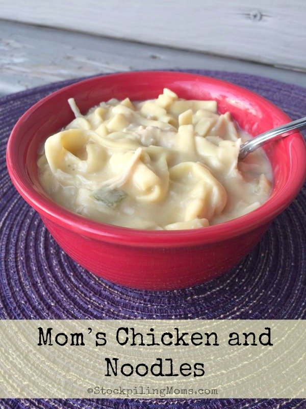 Mom's Chicken and Noodles are so easy to prepare in the slow cooker and taste delicious!