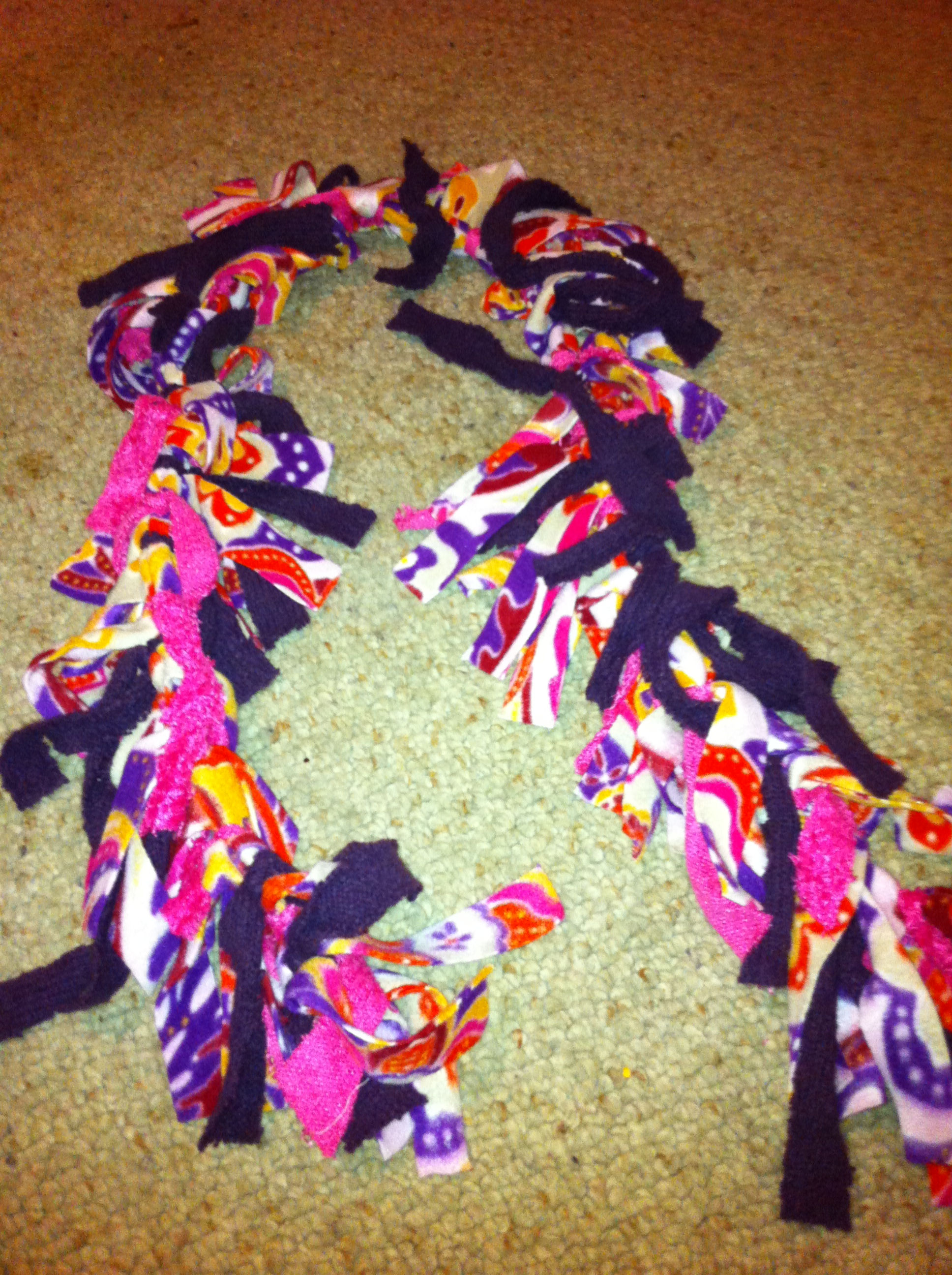 This is a great DIY and perfect for gift giving too! You can make a fleece scarf with your own clothing or with items that you pick up at yard sales or Goodwill. Perfect Christmas present that costs very little!