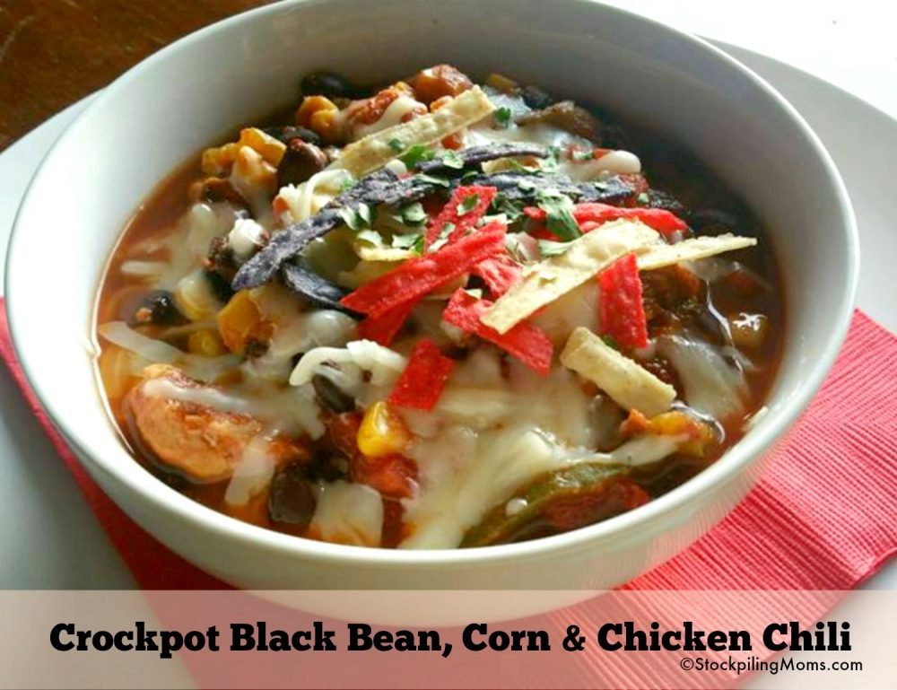 Crockpot Black Bean, Corn & Chicken Chili - Easy Freezer Slow Cooker Supper