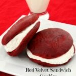 Red Velvet Whoopie Pies On Plate With Setting
