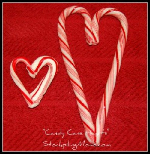 A fabulous idea for leftover candy canes! Turn them into candy cane hearts!
