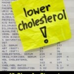 lower cholesterol - yellow reminder note on printout with blood test resultes