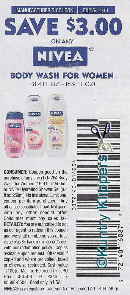 picture regarding 3.00 Off Nivea Printable Coupon called On the internet coupon codes for nivea overall body clean : Amber grill stevens