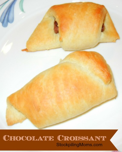 Chocolate Croissant is a very easy and delicious recipe! This is a great stockpile recipe as crescent rolls and chocolate bars are often free! I love to make these with leftover Halloween candy too!