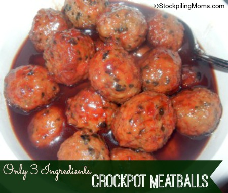 We love these Crockpot Meatballs - only 3 ingredients and perfect for any holiday or party!