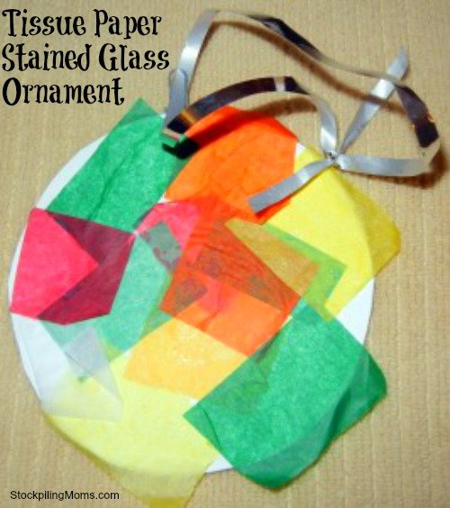 Tissue Paper Stained Glass Ornament