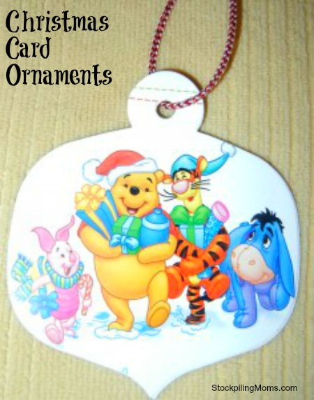 one of the most frugal and easy ways to make a christmas ornament - Christmas Card Ornaments