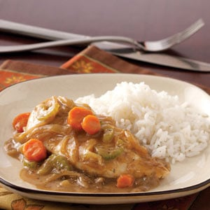 Crockpot Saucy Chicken with Veggies and Rice