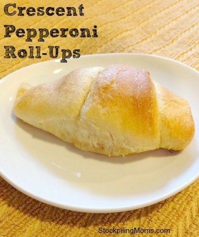 Only three ingredients in Crescent Pepperoni Roll-Ups. An easy to make afternoon snack!