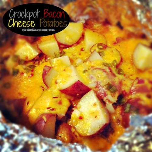 Crockpot Cheese and Bacon Potatoes are AMAZING!