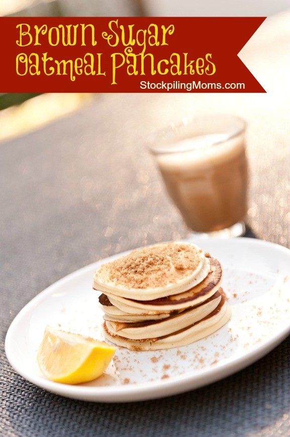 Brown Sugar Oatmeal Pancakes are great for breakfast, brunch or brinner! #pancake
