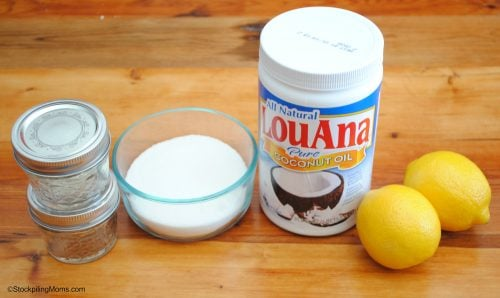 DIY Lemon Sugar Scrub Ingredients