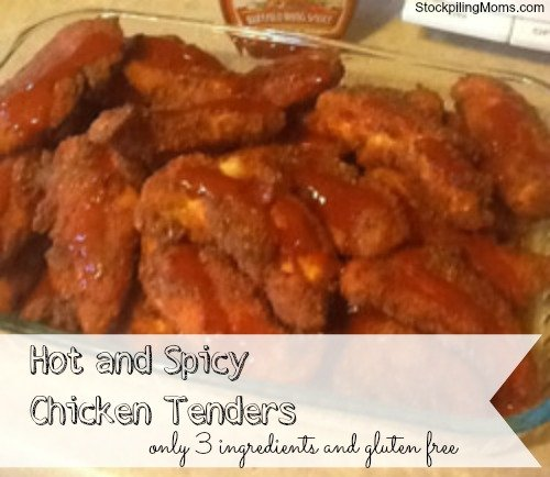 Hot and Spicy Chicken Tenders are gluten free and low carb and made with only 3 ingredients!