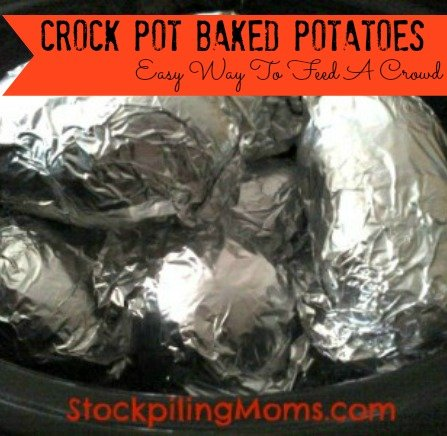 """Crock Pot Baked Potatoes are my favorite way to cook """"baked"""" potatoes.  Instead of heating up your house this summer try using the crock pot instead."""