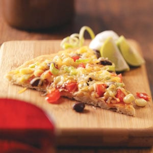 Originally published as Black Bean Taco Pizza in Healthy Cooking October/November 2009, p25