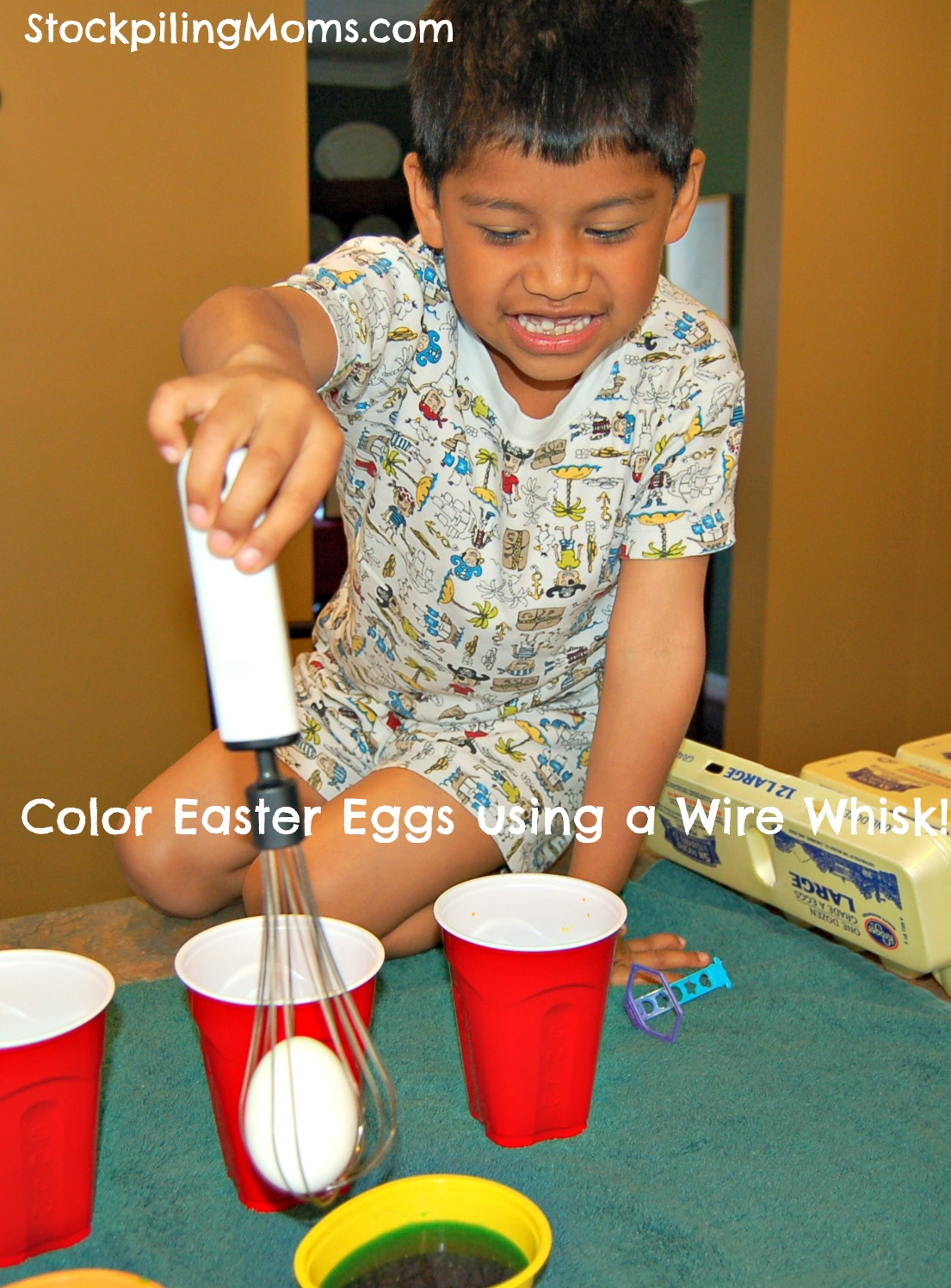 This is a great trick for coloring Easter Eggs! Simply slide the egg into the wire whisk and go!