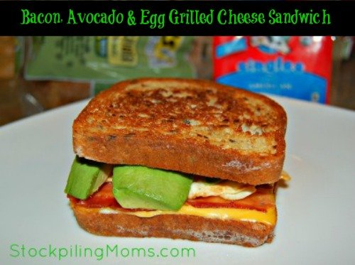 Gluten Free Bacon, Avocado & Egg Grilled Cheese Sandwich