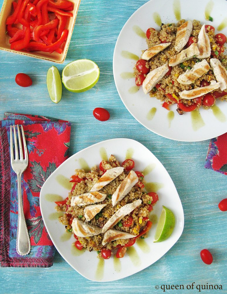 Mexican Style Quinoa with Grilled Chicken is so flavorful and packed full of protein!
