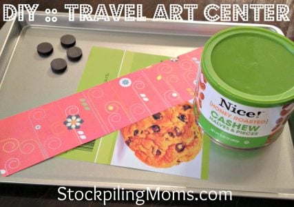 We love this DIY Travel Art Center for Vacation using a cookie sheet!