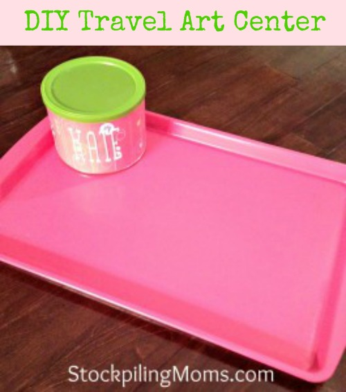We love this DIY Travel Art Center for Vacation using a cookie sheet