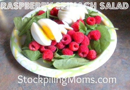 Raspberry Balsamic Vinaigrette Spinach Salad is perfect on a hot summer day!