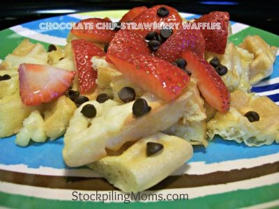 Chocolate Chip-Strawberry Waffles