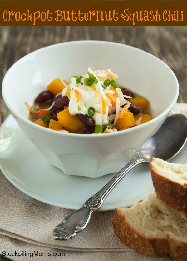 Crockpot Butternut Squash Chili is an amazing vegetarian freezer meal and good for you too!