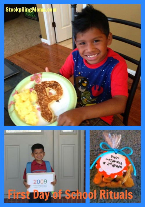 First Day of School Ritual - Making Pancakes Special & First Day Photos