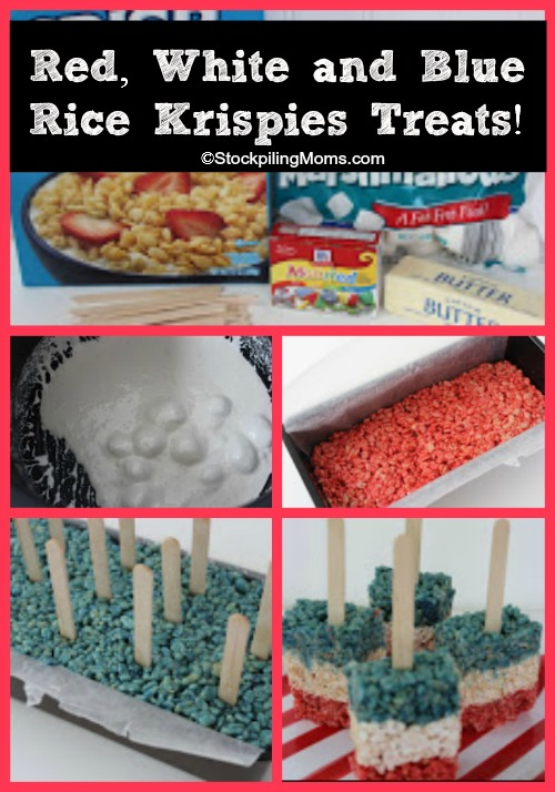 Red, White and Blue Rice Krispies Treats are perfect for July 4th!