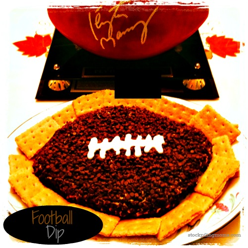 Peanut Butter Chocolate Chip Football Cheeseball is the perfect appetizer for game day!