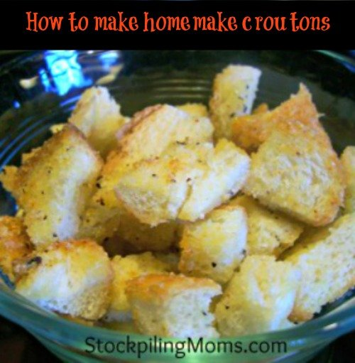 You will love making homemade croutons with leftover bread. It is a great way to stretch your family budget.