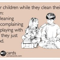 Kids Cleaning their Room Humor