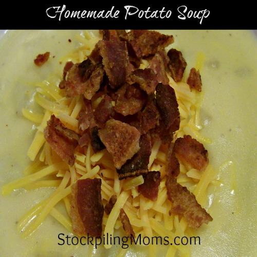 Homemade Potato Soup is comfort food! Topped with some bacon and cheese for a loaded version. You can't go wrong with this!