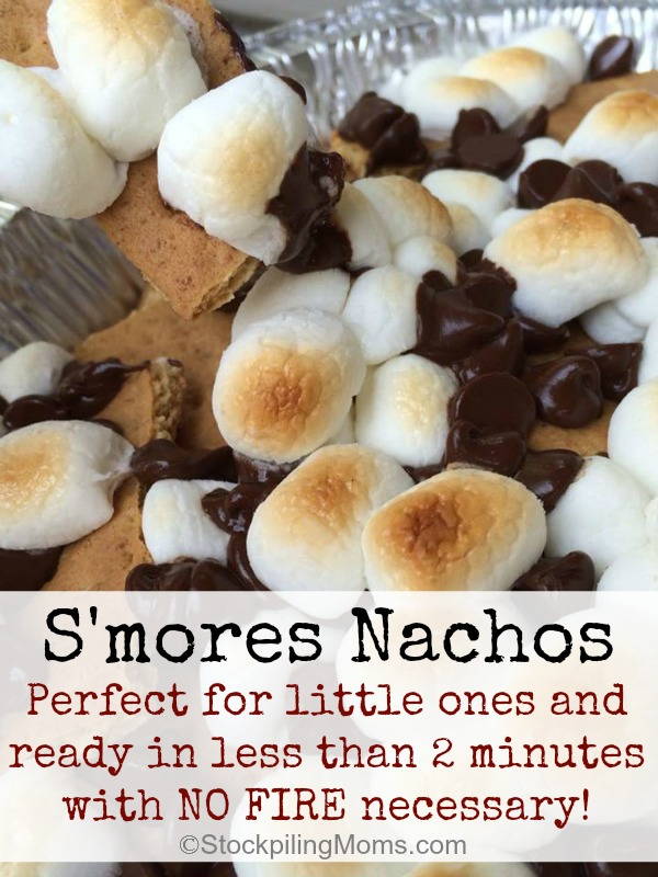 S'mores Nachos are perfect for rainy days! Ready in less than 2 minutes with no fire!