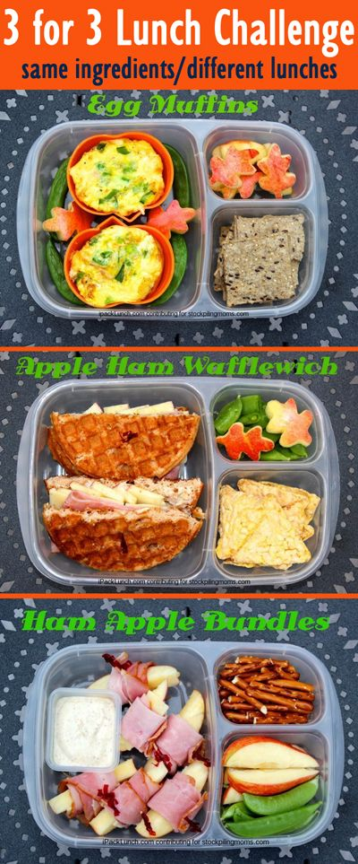 3 for 3 Lunch Challenge - Lunchbox Ideas (Ham, Apples & Snap Peas)