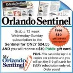 Orlando Sentinel Newspaper Deal :: 52 Weeks for $20 :: Ends today!