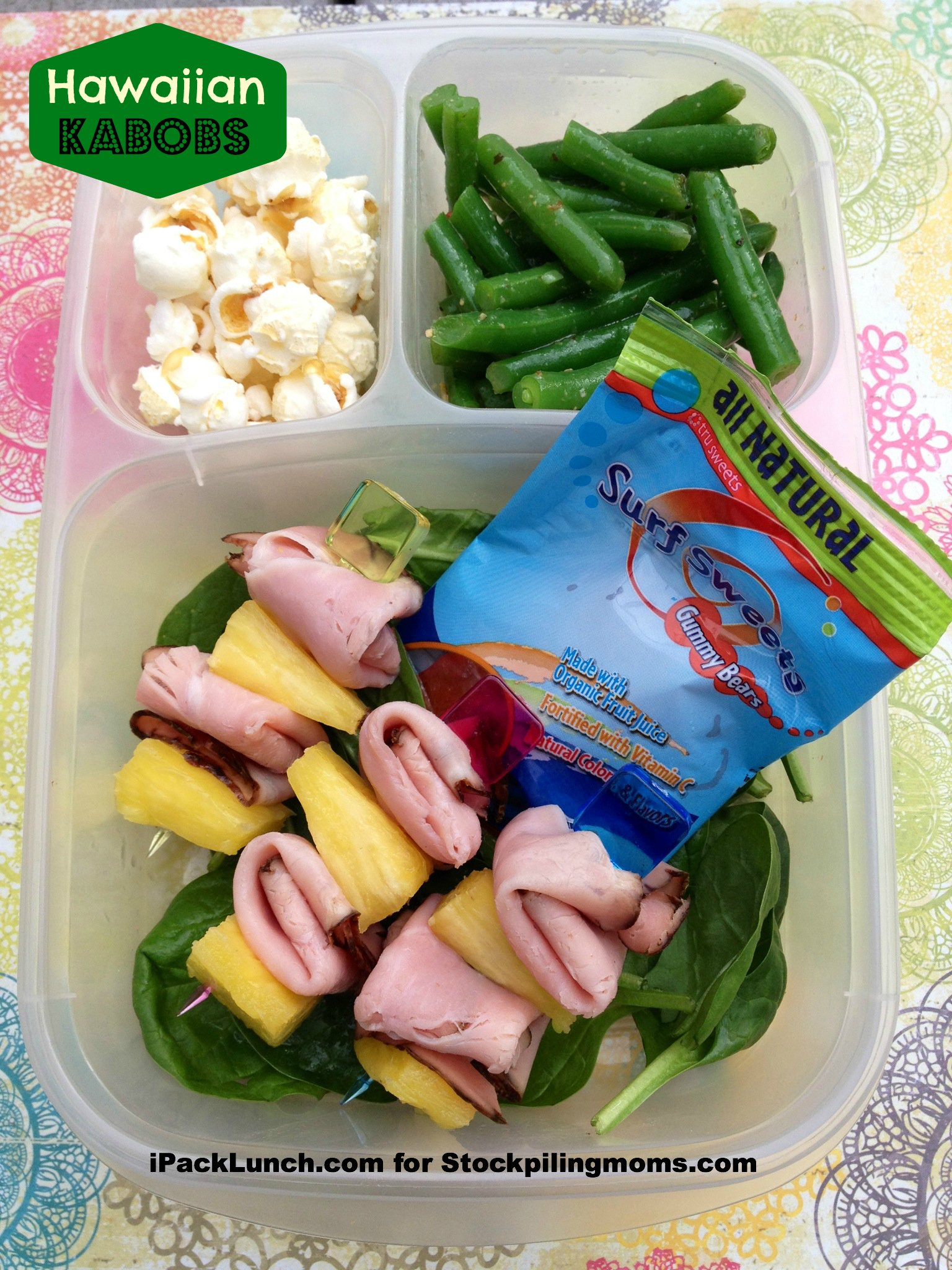 3 for 3 Lunch Challenge - Lunchbox Ideas using Ham, Pineapple and Green Beans