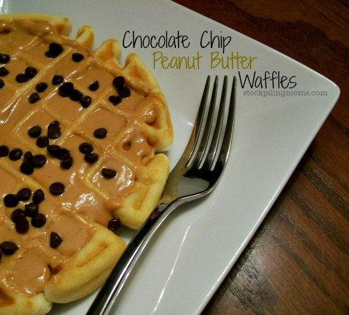 Chocolate Chip Peanut Butter Waffles are so delicious! They are my favorite waffle hands down.