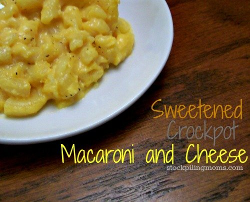 Sweetened Crockpot Macaroni and Cheese is easy to make a crowd pleaser at the holidays!