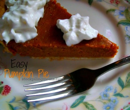 This is really an Easy Pumpkin Pie Recipe. As in ANYONE can make it. Great if you are hosting your first Thanksgiving!