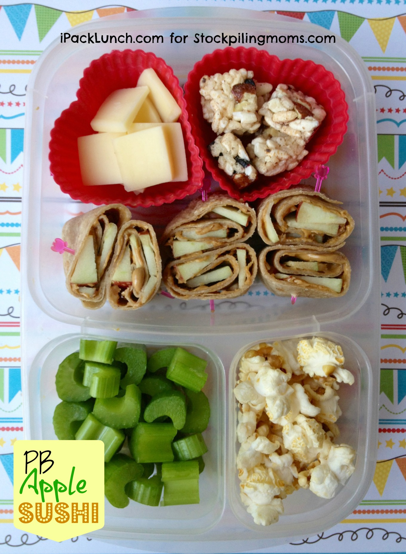3 for 3 Lunch Challenge - Lunch Box ideas using Peanut Butter, Apples and Celery